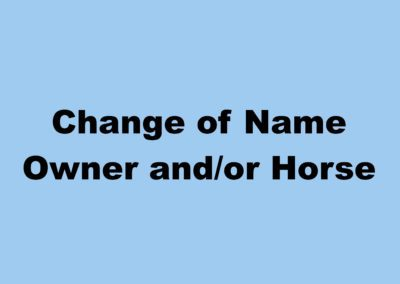 Change of Name Horse or Owner